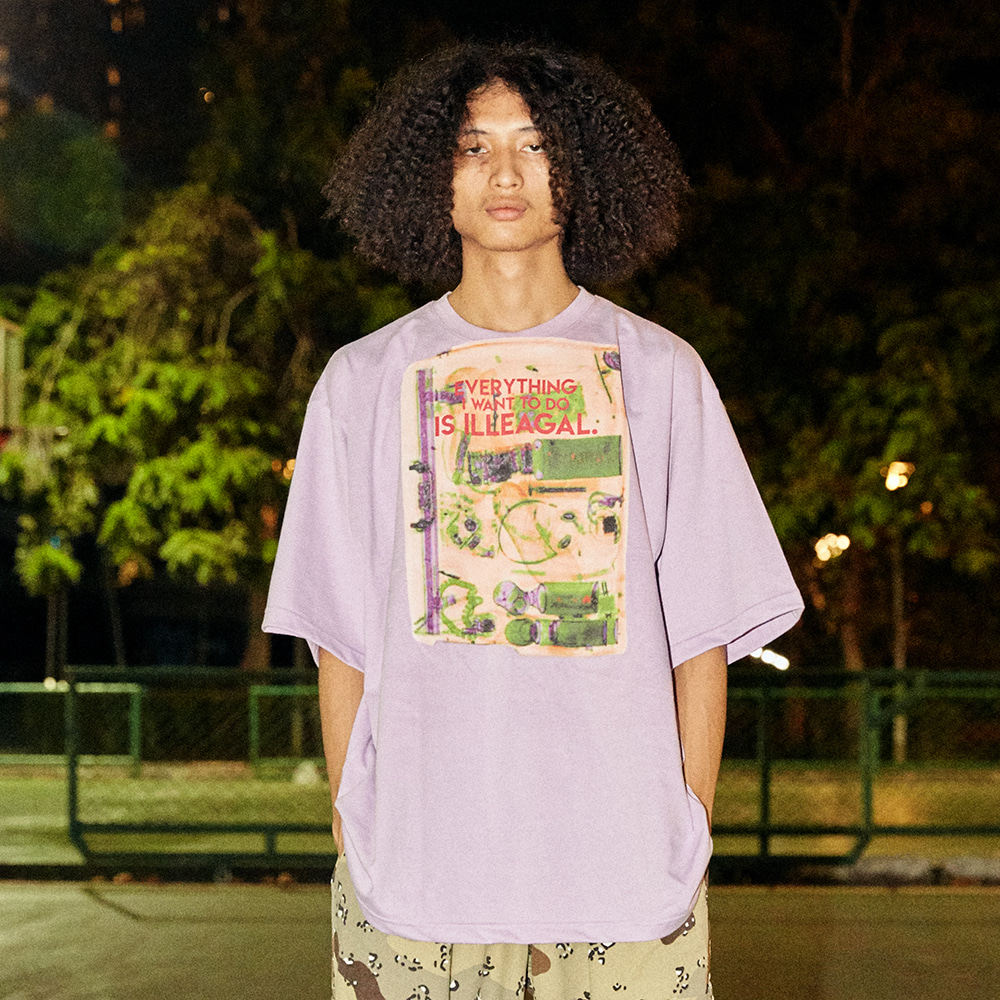 [아임낫어휴먼비잉] Big Baggage Short Sleeve T-Shirt - PURPLE