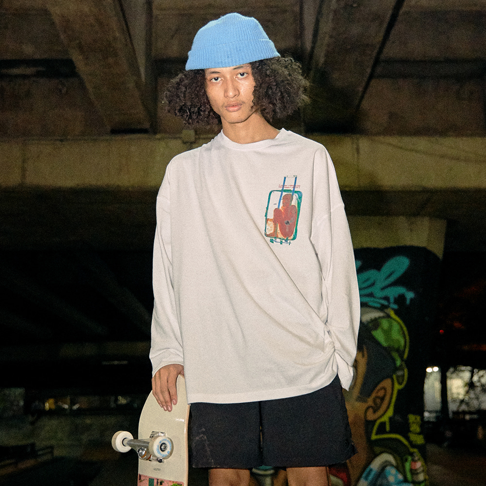 [아임낫어휴먼비잉] Brain Baggage Long Sleeve T-Shirt - WHITE