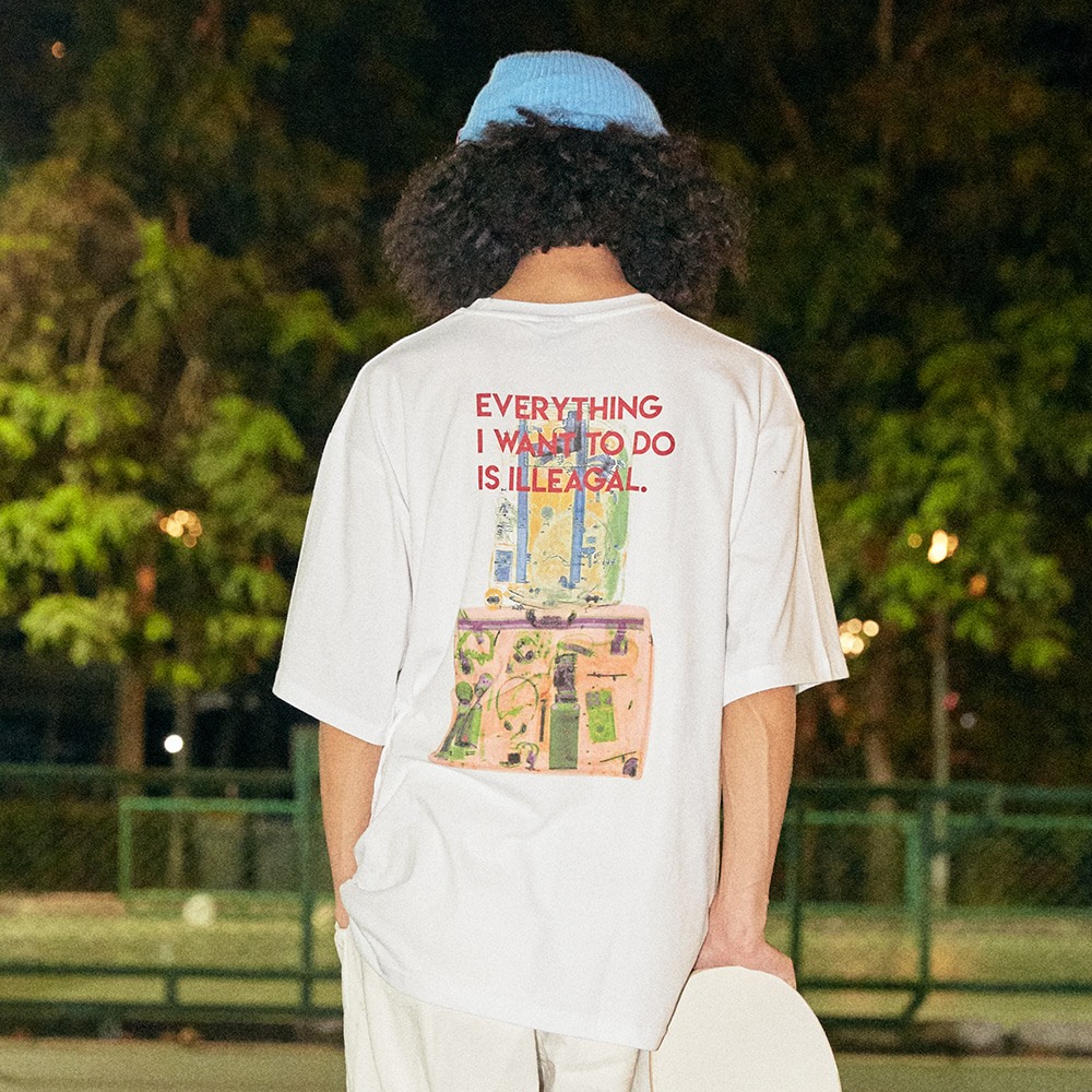 [아임낫어휴먼비잉] Stacked Baggage Short Sleeve T-Shirt - WHITE