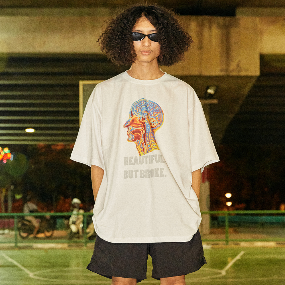 [아임낫어휴먼비잉] Psychedelic Brain Short Sleeve T-Shirt - WHITE