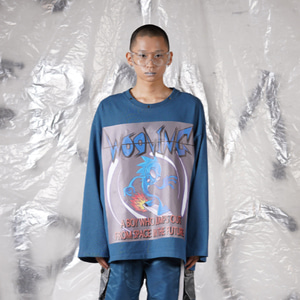 [WOOVING] SPACE BOX LONG SLEEVES - BLUE
