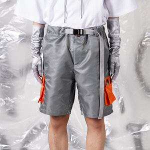 [WOOVING] SPACE HALF PANTS - SILVER