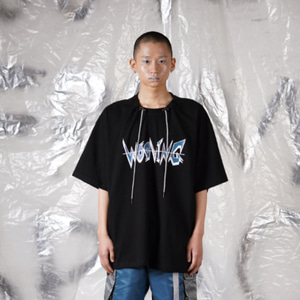 [WOOVING] STRING HALF SLEEVES - BLACK