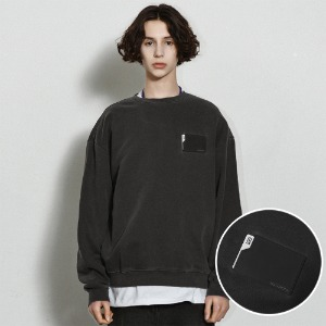 [낫포너드] Pigment Card Wallet Crewneck Dark grey