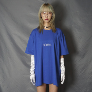 [WOOVING] SMALL LOGO T-SHIRTS (BLUE)