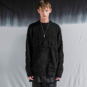 [FLARE] 4mix over knit Sweater (FU-147_All Black Mix)