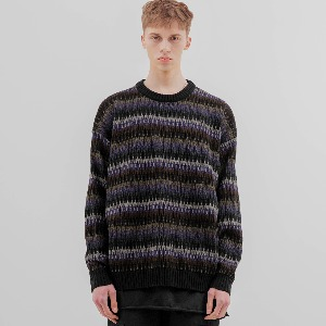 [FLARE] 6mix over knit Sweater (FU-159_Black Mix)