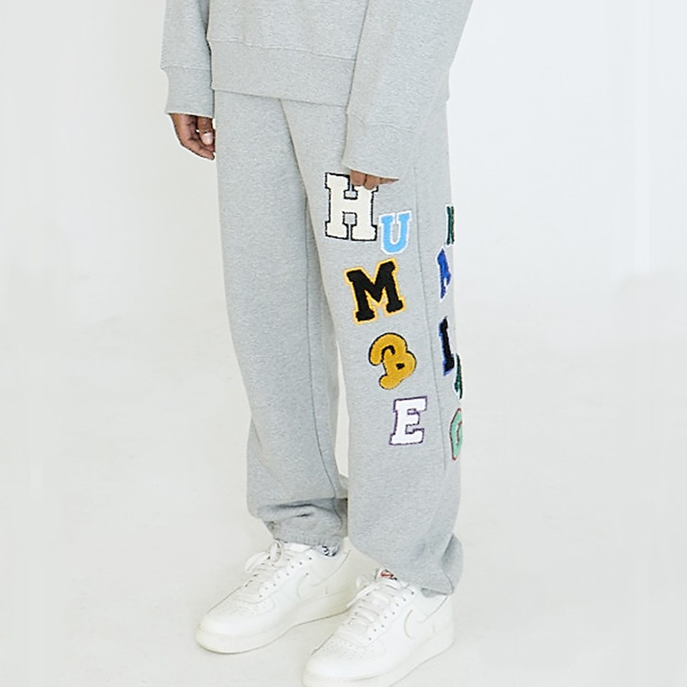[아임낫어휴먼비잉] LOGOED PATCHWORK SWEAT PANTS - GREY