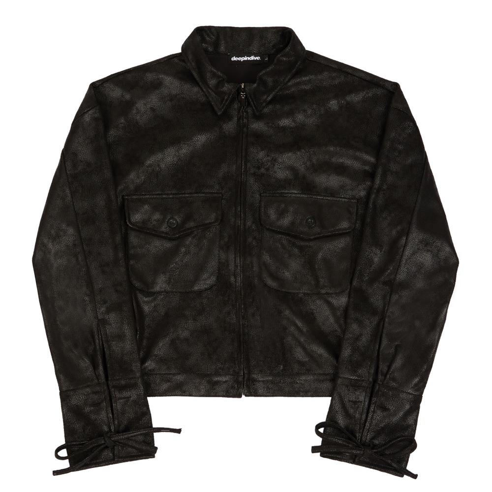 [딥인다이브] TAREGON ROPE CROP JACKET BLACK