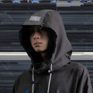 [WOOVING] STRING HOOD (BLACK)