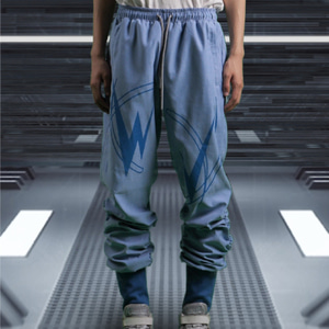 [WOOVING] SHIRRING JOGGER PANTS (BLUE)