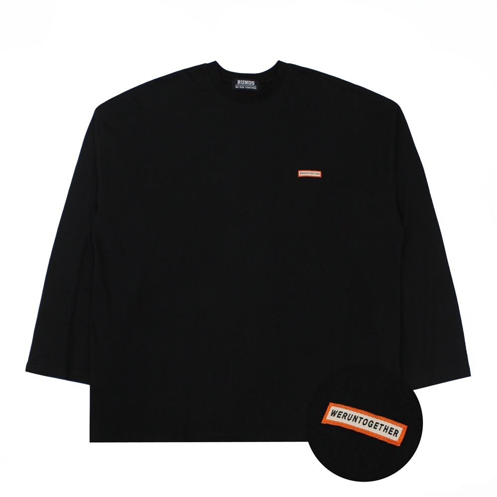 [RUNDS] slogan oversize long sleeve (black)