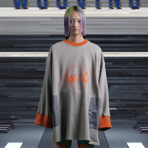 [WOOVING] ROCKET SWEATSHIRTS (ORANGE)