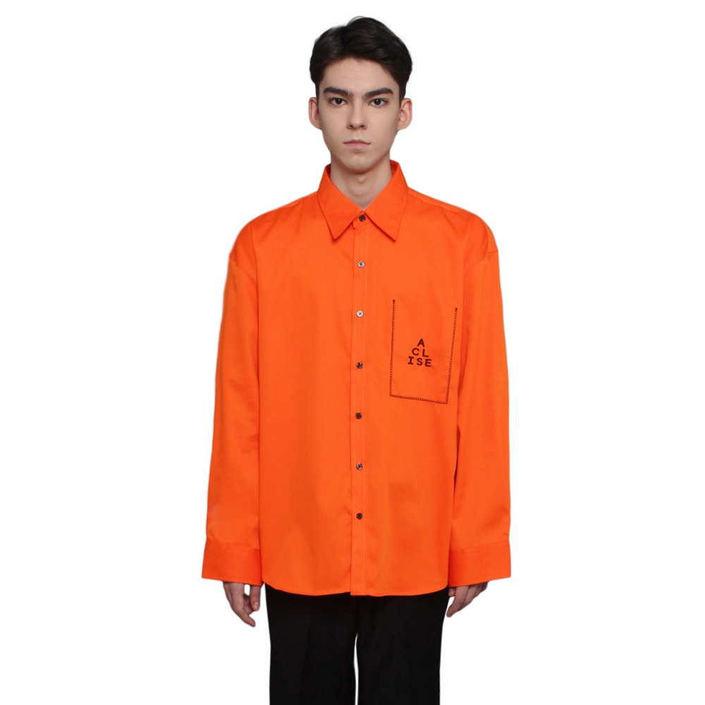 [아클리세] Fake Pocket Shirts Orange