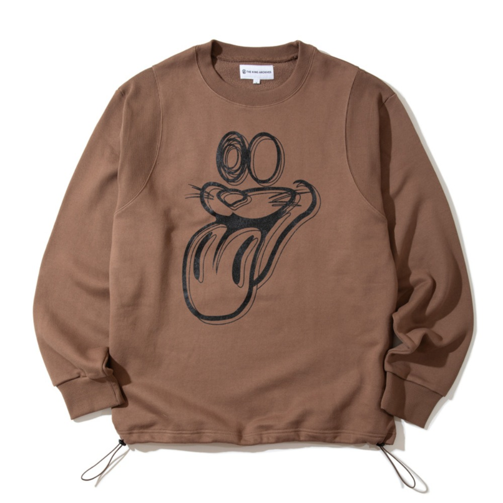[KING]Tongue Sweatshirt -Brown