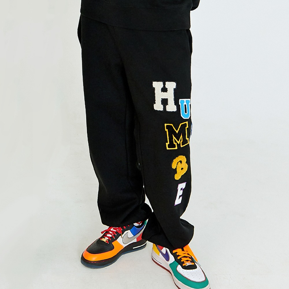 [아임낫어휴먼비잉] LOGOED PATCHWORK SWEAT PANTS - BLACK