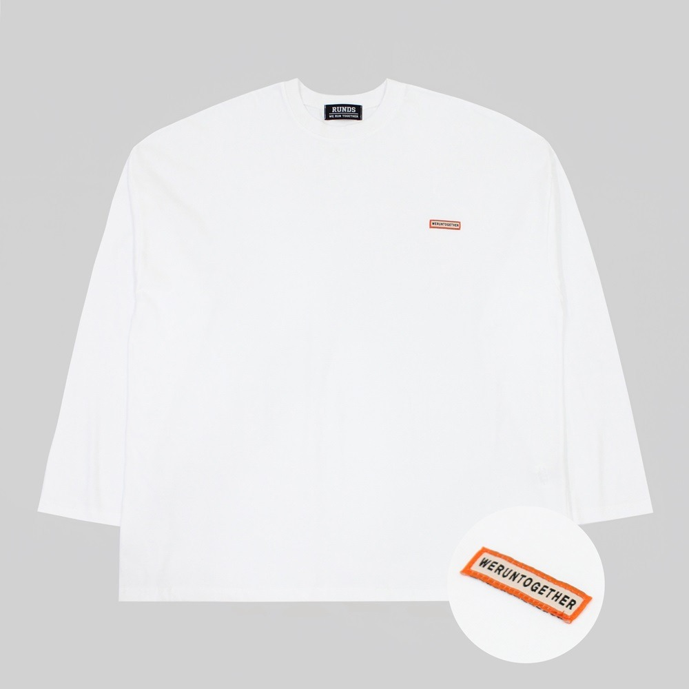 [RUNDS] slogan oversize long sleeve (white)
