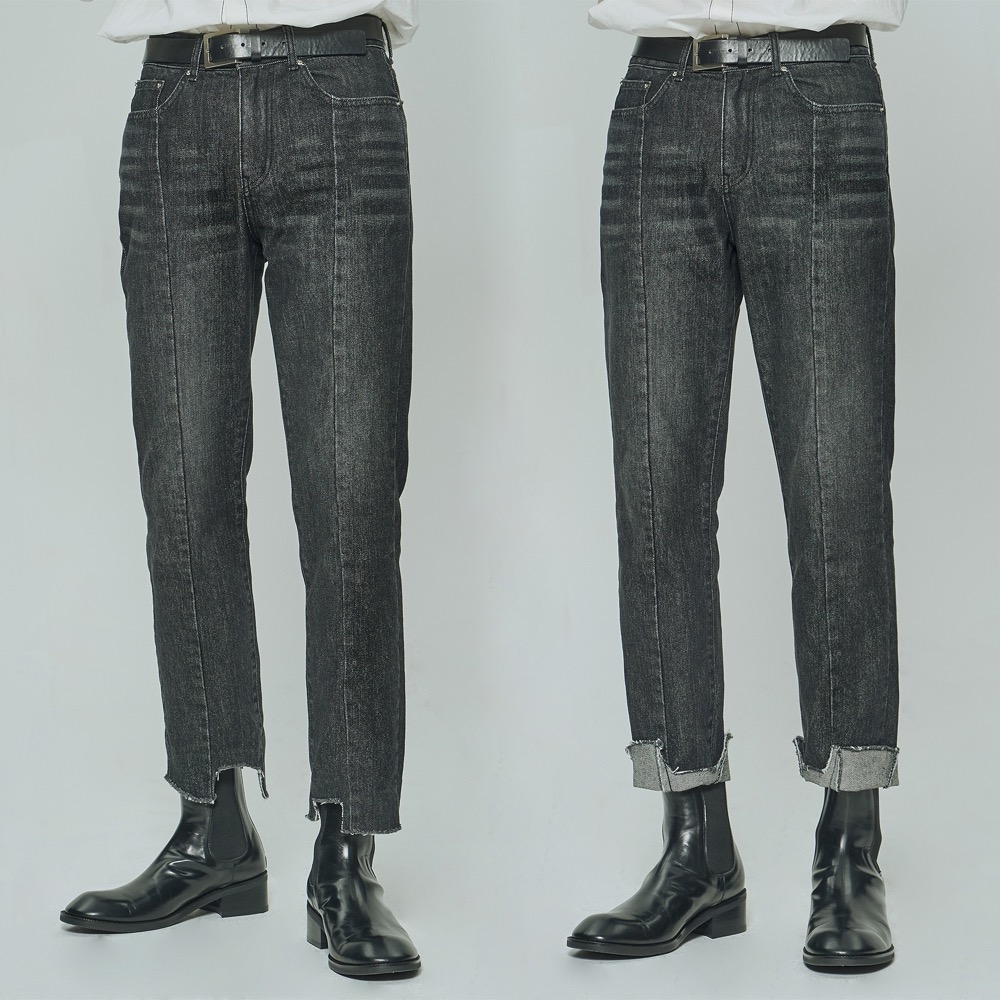 [DEADEND] BLACK IMBALANCE TAPERED CROPPED JEANS