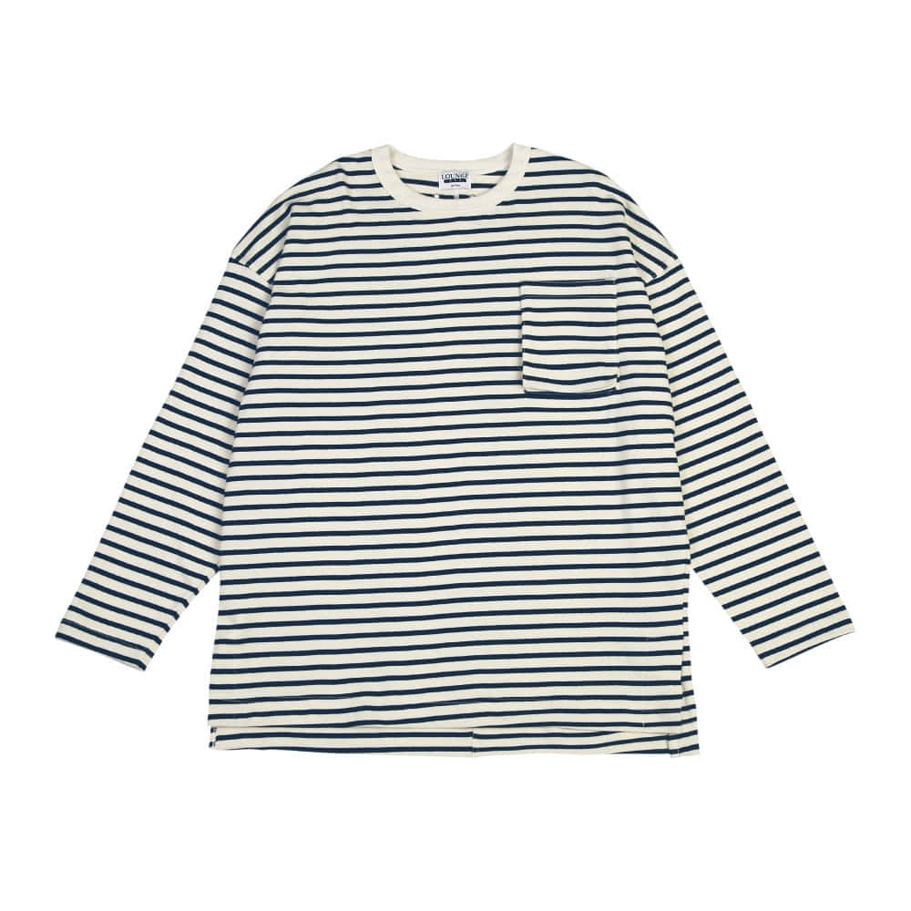 [라운지 에이피티] Stripe Plump Pocket LSV T-Shirt_Navy