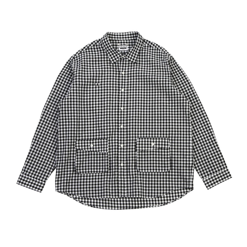[라운지 에이피티] Breezy Gingham-Check Shirt_Black