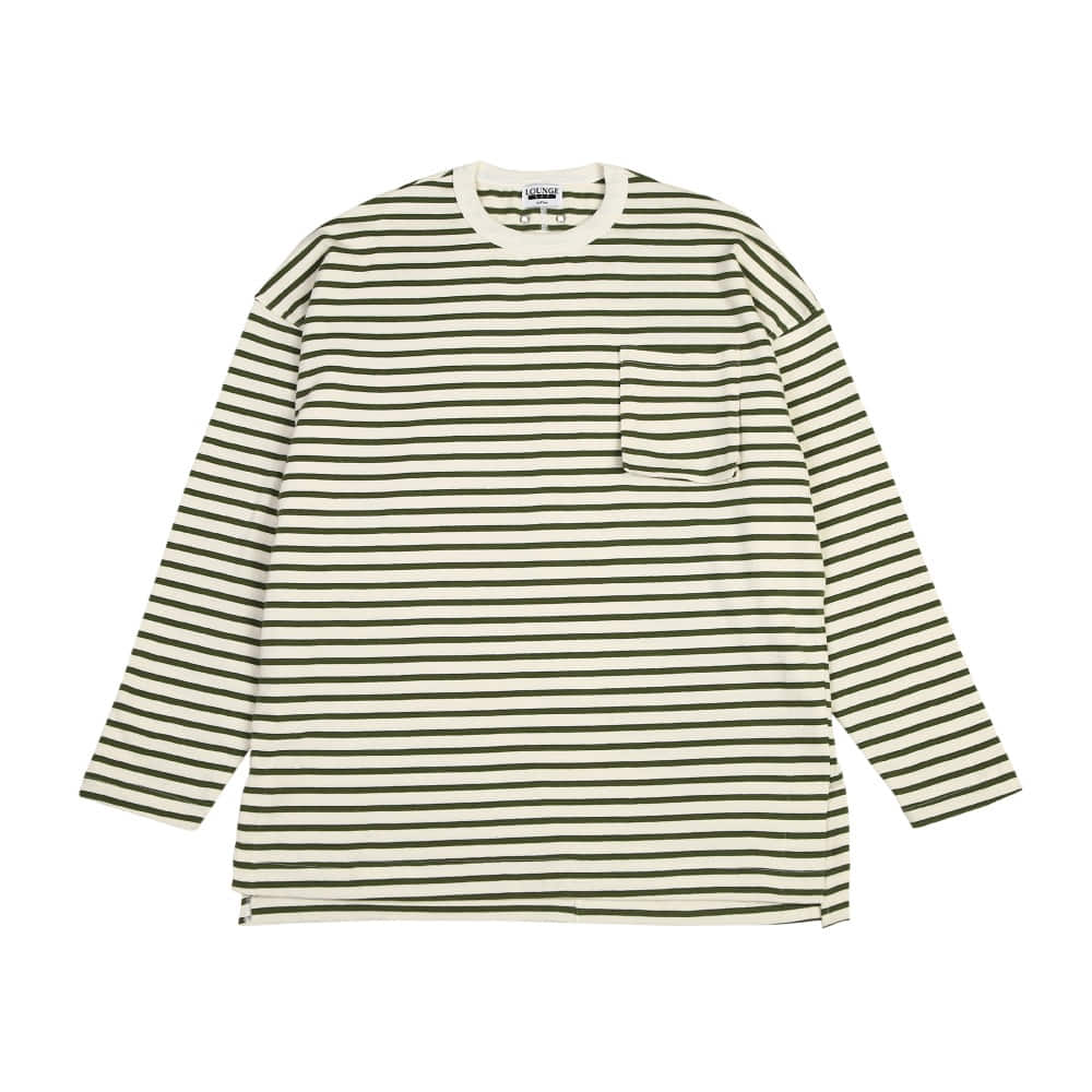 [라운지 에이피티] Stripe Plump Pocket LSV T-Shirt_Olive