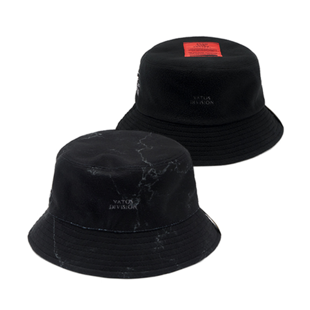 [스티그마]MARBLE REVERSIBLE FLEECE BUCKET HAT - BLACK