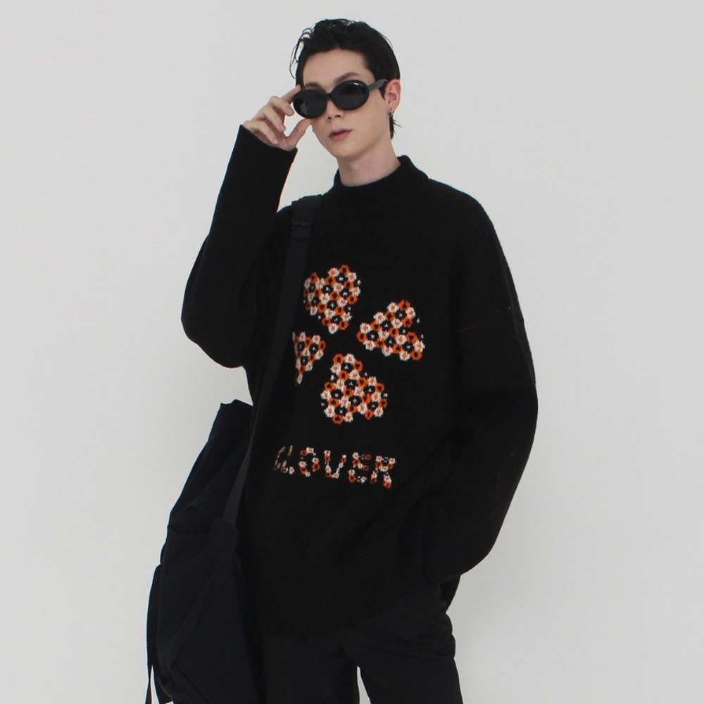 [아클리세] Clover Wool Knit Black