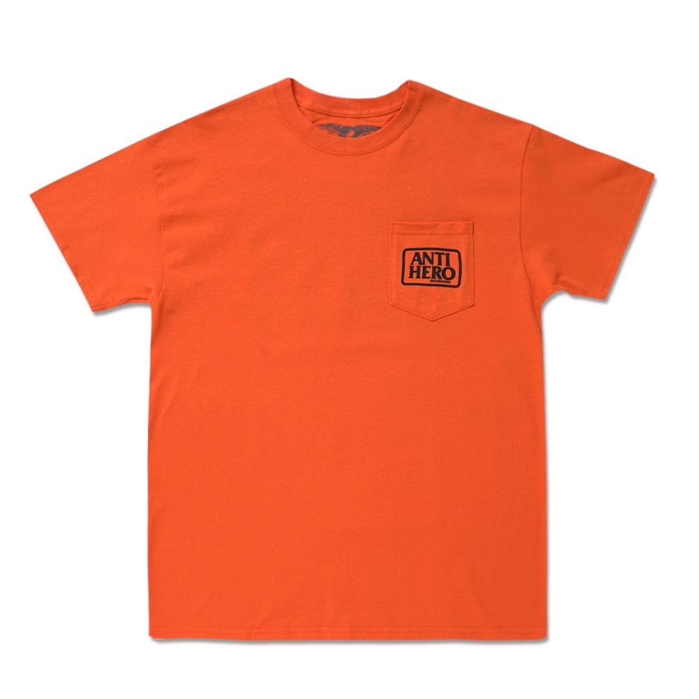 [안티히어로] OUT OF ORDER RESERVE S/S Pocket T-Shirt - ORANGE / BLACK Prints 51020376