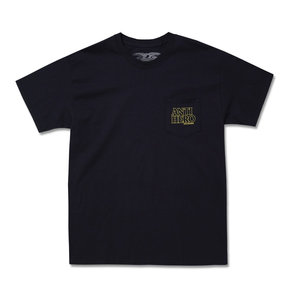 [안티히어로] OUTLINE HERO S/S Pocket T-Shirt BLACK w/ YELLOW Print 51020235B