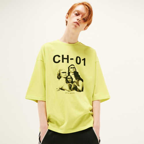 [20%할인][SLEAZY CORNER] ARTWORK OVER HALF T SHIRT-YELLOW GREEN