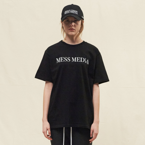 [SLEAZY CORNER] MESS MEDIA HALF T SHIRT-BLACK