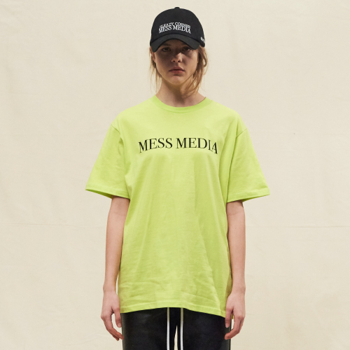 [SLEAZY CORNER] MESS MEDIA HALF T SHIRT-YELLOW GREEN