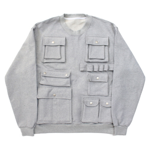 [EASY BUSY] Pocket Detail Sweatshirts - Grey