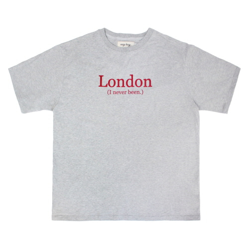 [EASY BUSY] LONDON' Printing T-Shirts - Grey
