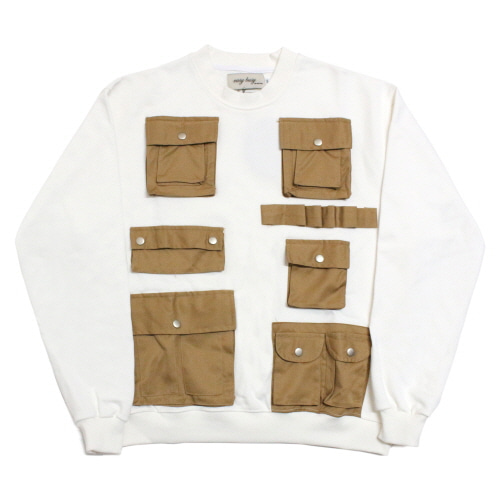 [EASY BUSY] Pocket Detail Sweatshirts - White&Brown