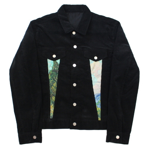[EASY BUSY] Van Gogh Corduroy Trucker Jacket - Black