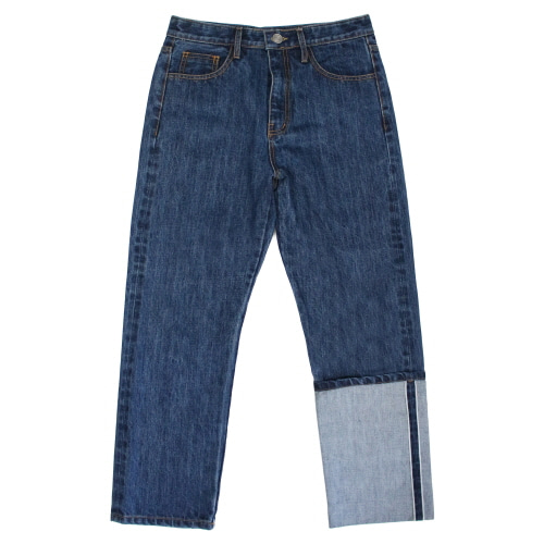 [EASY BUSY] Unbalance Selvage Detail Jeans - Denim