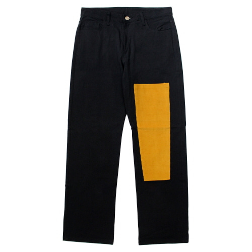 [EASY BUSY] Simple Patchwork Pants - Black&Yellow