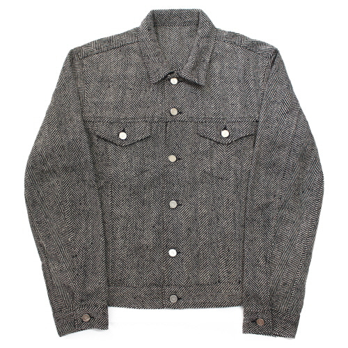 [EASY BUSY] Herrinbone Trucker Jacket - Charcoal