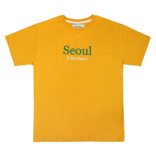 [EASY BUSY] SEOUL' Printing T-Shirts - Orange