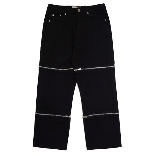 [EASY BUSY] Zipper Detail Jeans - Black