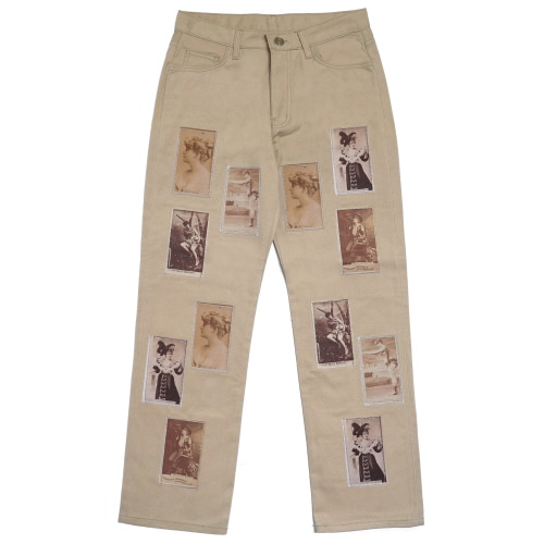 [EASY BUSY] Old Card Patchwork Pants - Beige