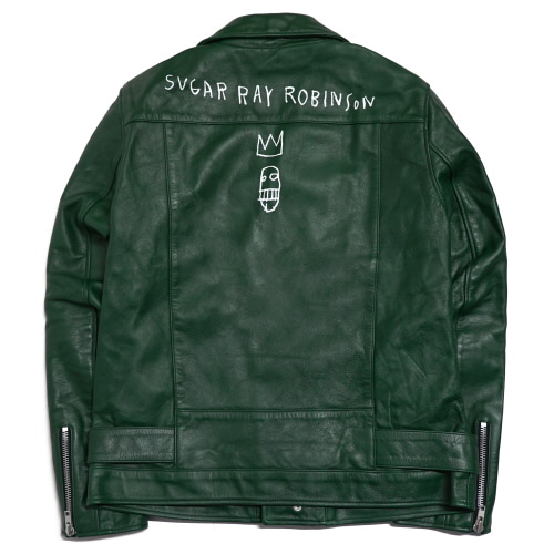 [EASY BUSY x JMB] JMB Crown Logo Leather Jacket - Green