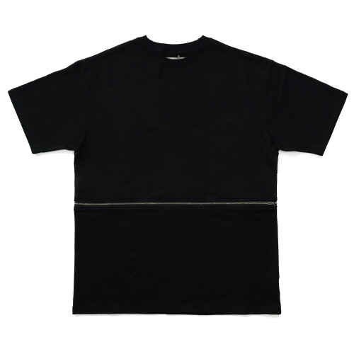 [EASY BUSY] Zipper Detail T-Shirts - Black