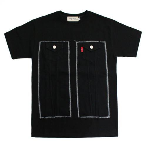 [EASY BUSY] Truker Detail T-Shirts - Black