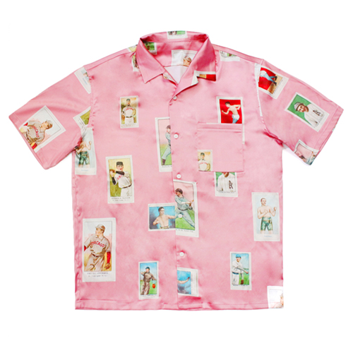 [EASY BUSY] Baseballcard Silk shirts - Pink