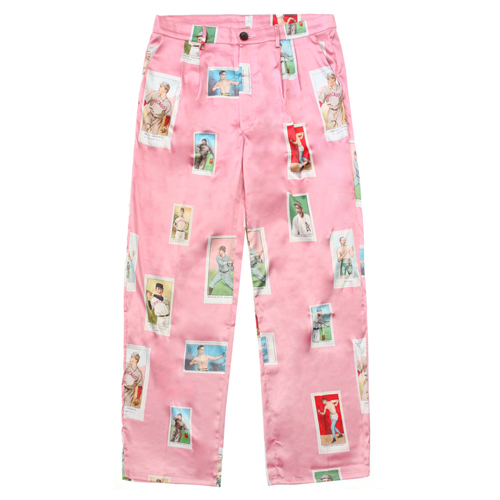 [EASY BUSY] Baseballcard Silk pants - Pink