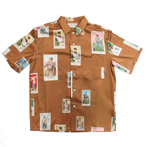 [EASY BUSY] Baseballcard Silk shirts - Brown