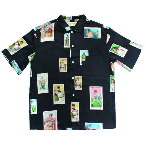 [EASY BUSY] Baseballcard Silk shirts - Black