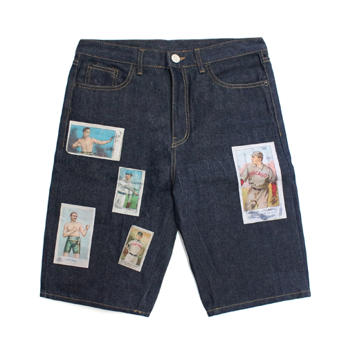 [EASY BUSY] Baseballcard Patchwork 1/2 Jeans
